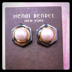 Henri Bendel Hexagonal Pearl Stud Earrings